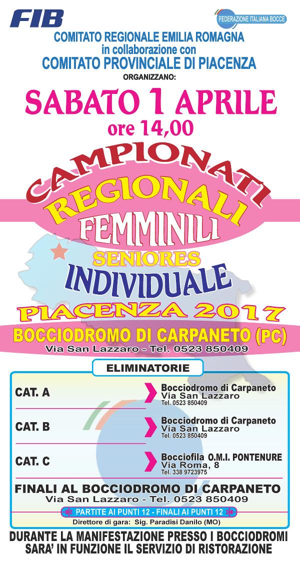 Torneo di bocce femminile ad eliminazione organizzato dal Comitato Regionale Emilia Romagna in collaborazione con il Comitato Provinciale di Piacenza.